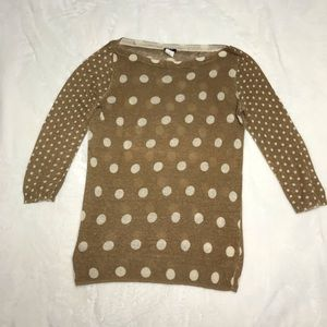 J. Crew Medium tan cream polka dot linen sweater